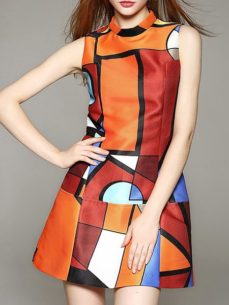 A-line Elegant Short Sleeve Crew Neck Geometric Paneled Color-block Dress
