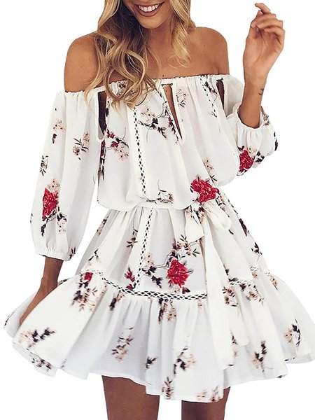 Half Sleeve Off Shoulder Printed Elegant Floral A-line Dress
