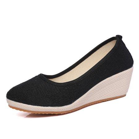 Daily Linen Wedge Heel Shoes