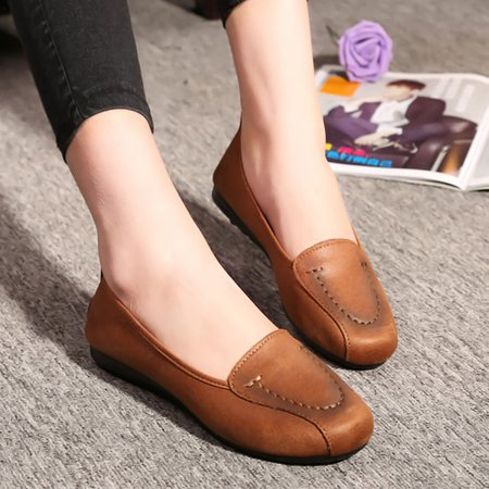 Daily Artificial Leather Slip-on Flats