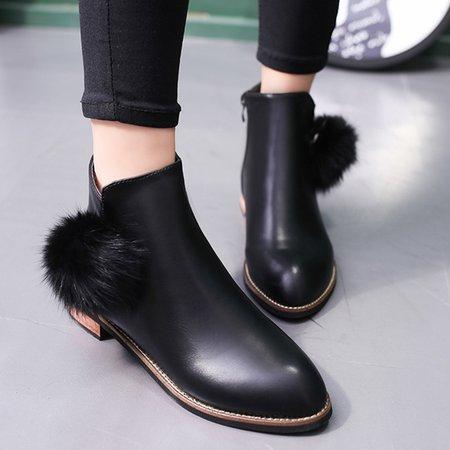 Large Size Black Microfiber Leather Zipper Low Heel Boots