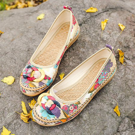 Floral Embroidered Summer Flat Heel Flats