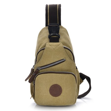 Unisex Casual Canvas Multi Pockets Sling Bag Chest Bag
