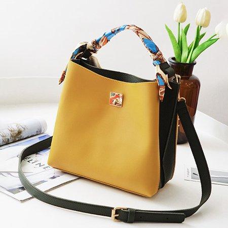 Stylish PU Leather Scarf Decoration Elegant Handbag Crossbody Bag