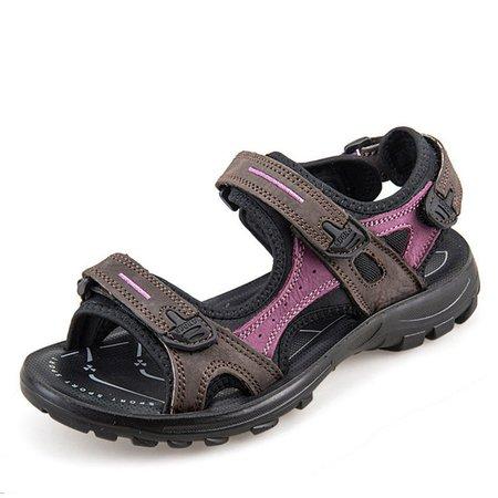 Split Leather Casual Magic Tape Sandals