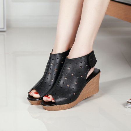 Genuine Leather Casual Magic Tape Wedge Heel Sandals