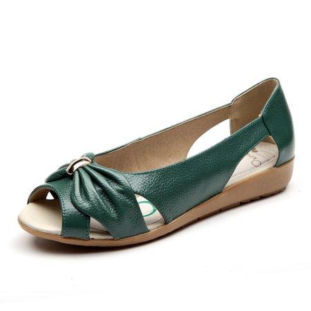 Genuine Leather Peep Toe Bow Flats