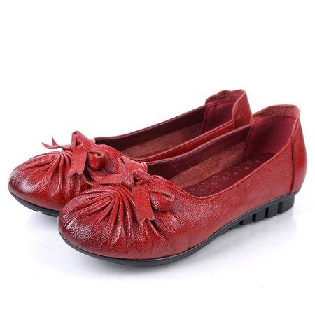 Genuine Leather Bowknot Non-slip Flats