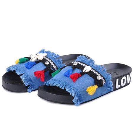 Denim Tassel Flat Heel Slippers