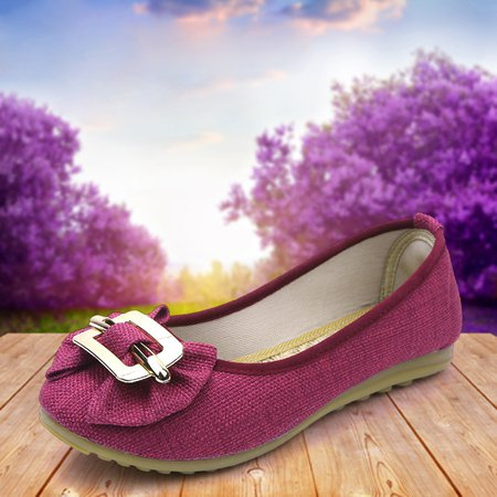 Linen Bowknot Casual Round Toe Flats