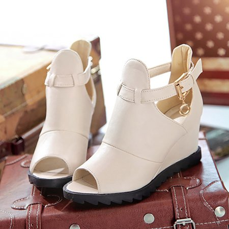 Hollow-out Spring/Fall Daily Wedge Heel PU Boots