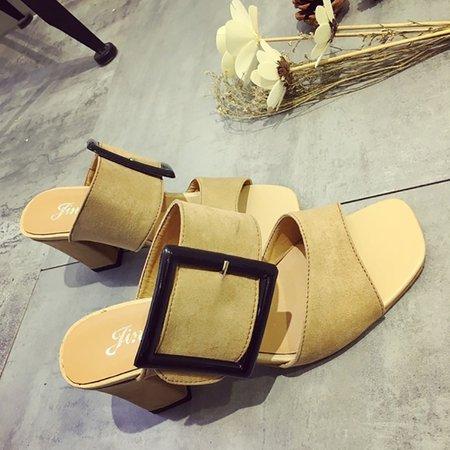 Chunky Heel Buckle Artificial Suede Summer Dress Sandals