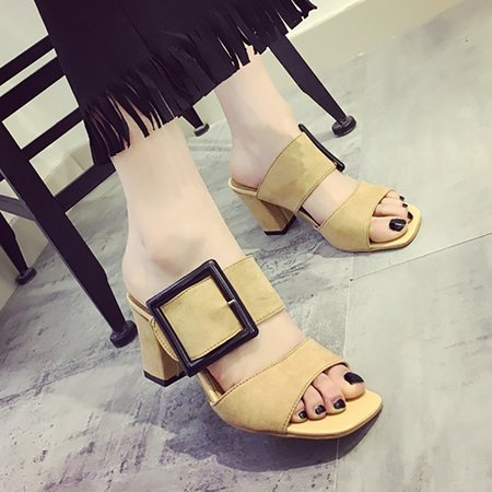 Chunky Heel Buckle Artificial Suede Summer Dress Pumps