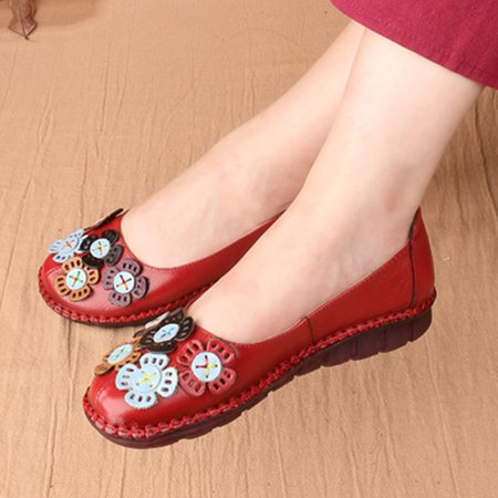 Applique Leather Non-slip Flats