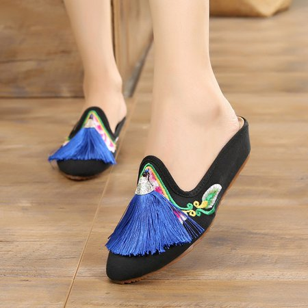 Floral Embroidered Canvas Tassel Slippers