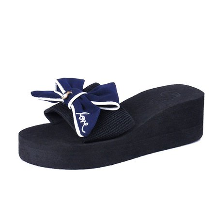 Cloth Wedge Heel Casual Bowknot Summer Slippers