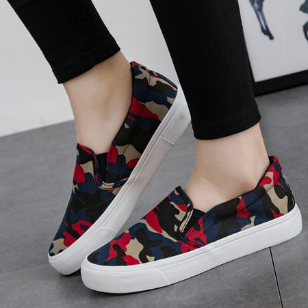 Red Camouflage Casual Loafers