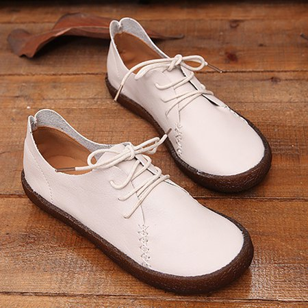 Lace-up Flat Heel PU Casual Loafers
