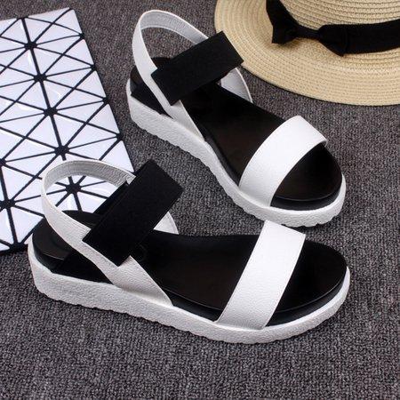 Silver Flat Heel Dress PU Sandals