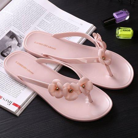 Flower PVC Casual Flat Heel Slippers