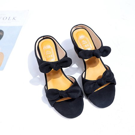 Dress Bowknot Chunky Heel Artificial Suede Sandals