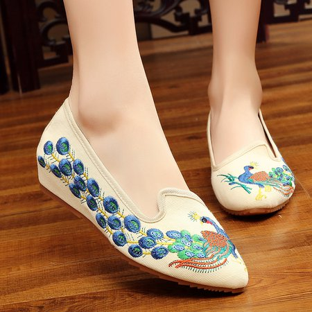 Embroidery Canvas Casual Flats