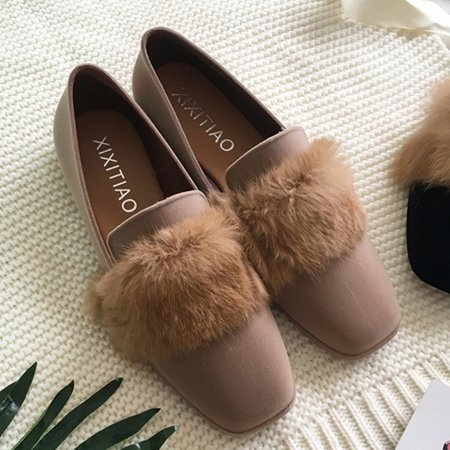 Casual Flurry Flat Heel Flocking Loafers