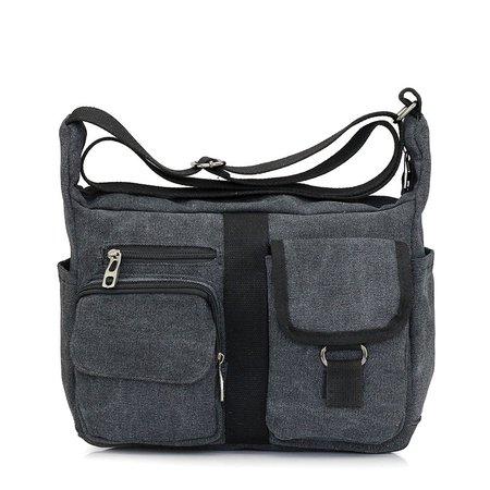 Unisex Multi Pockets Casual Canvas Crossbody Bag