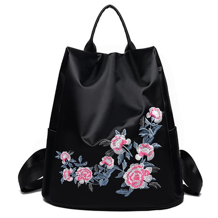 Vintage Embroidery Large Capacity Nylon Lightweight Stylish Backpack For Women