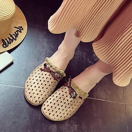 Flat Heel Casual Hollow-out PU Slippers