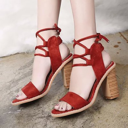 Chunky Heel Lace-up Summer Sandals