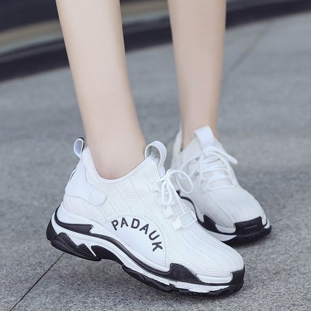 Mesh Lace-up Platform Athletic Sneakers