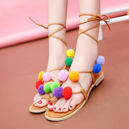 Lace-up Flat Heel PU Spring/Fall Sandals