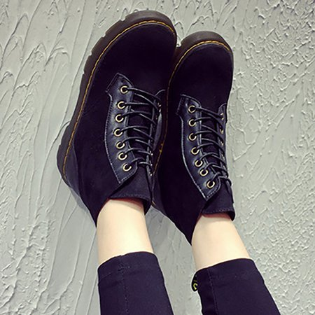 Platform Lace-up Artificial Suede Fall Boots