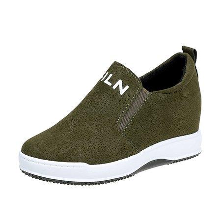 Pigskin Leather Slip On Wedge Heel Shoes