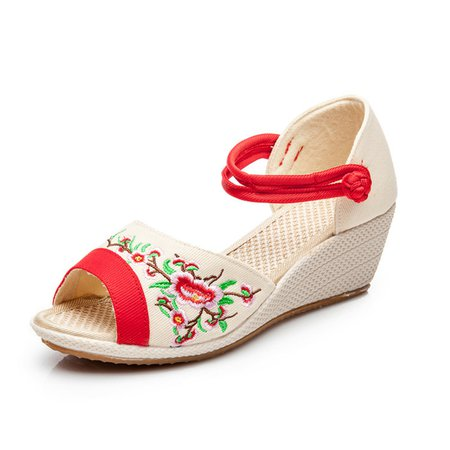 Floral Embroidered Canvas Sandals Wedge Heel Shoes