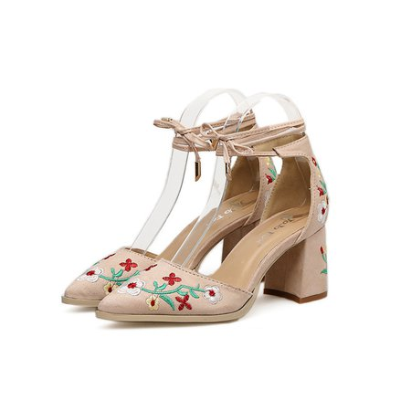 Floral Embroidered Lace-up Flocking Pumps