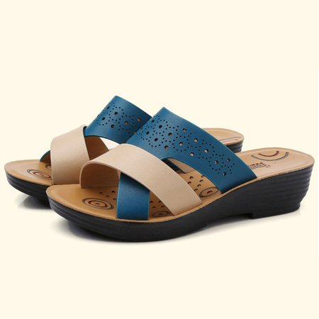 Wedge Heel Hollow-out Spring PU Slippers