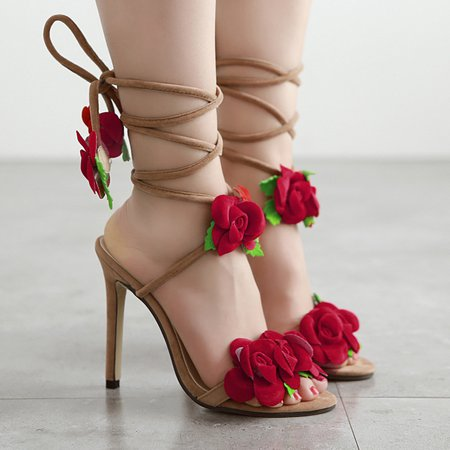 Flower Flocking Stiletto Heel Lace-up Pumps