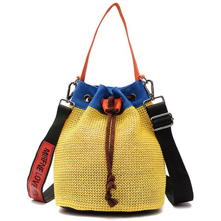 Yellow Casual PU Leather Drawstring Crossbody Bag