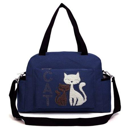 Ladies Cute Animal Pattern Large Capacity Canvas Tote Crossbody Bag