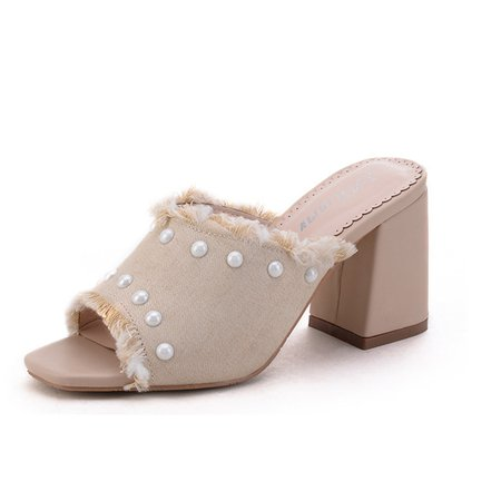 Spring/Fall Chunky Heel Casual Slippers