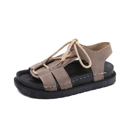 Artificial Nubuck Flat Heel Lace-up Sandals