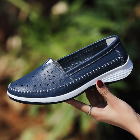 Large Size Hollow-out Genuine Leather Loafers