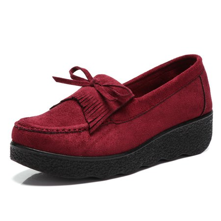 Bowknot Artificial Suede Platform Loafers
