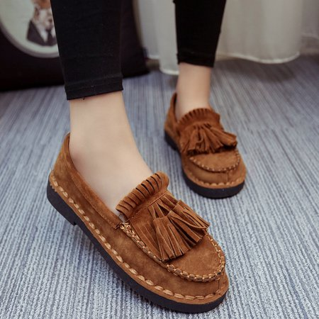 Casual Artificial Suede Low Heel Loafers