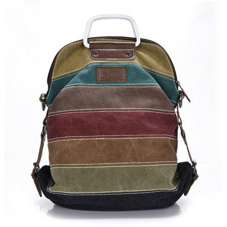 Color-block Canvas Retro Multifunctional Crossbody Bag Large Capacity Backpack
