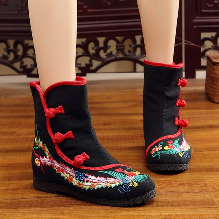 Embroidered Buttoned Wedge Heel Boots