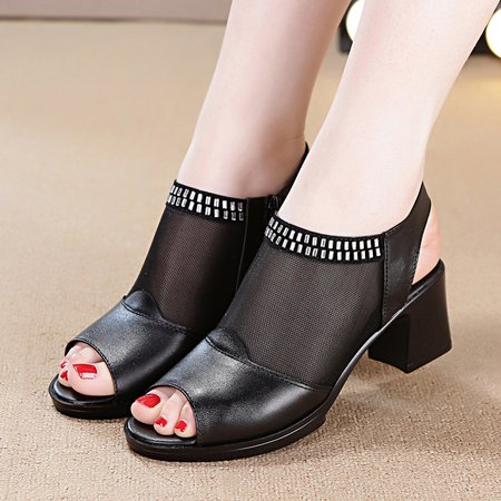 Black Chunky Heel Zipper Leather Pumps
