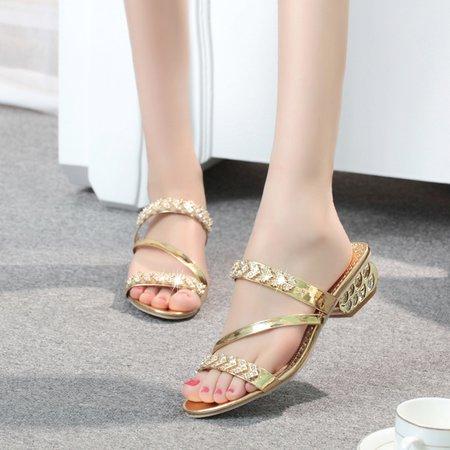 PU Rhinestone Low Heel Slippers